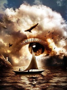 Dream eye, boat & ocean